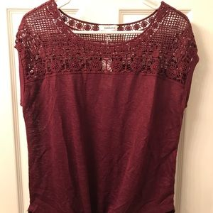 Charming Charlie Burgundy Knot Front Top, M